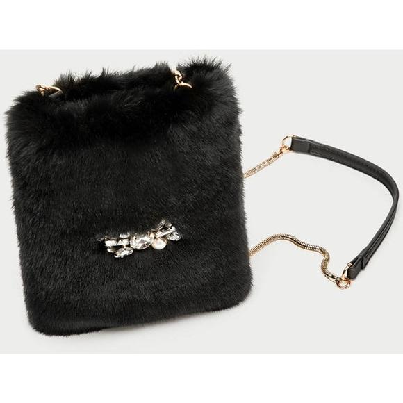 251c260a29ea NWT Zara Black Faux Fur Mini Crossbody Bag